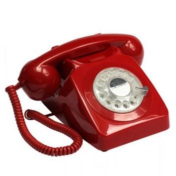 GPO746 TELEFONO FIFO DE SOBREMESA RETRO DIAL ROJO