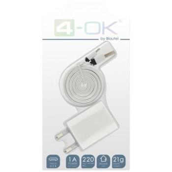 4-OK CABLE MICRO USB + CARGADOR BLANCO