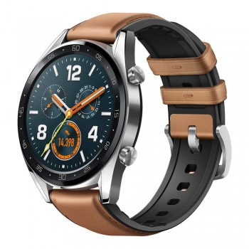 HUAWEI WATCH GT FTN-B19 STAINLESS STEEL SADDLE BROWN LEATHER SILICONE STRAP