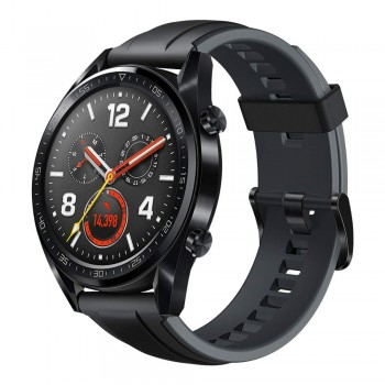 HUAWEI WATCH GT FTN-B19 BLACK STAINLESS STEEL GRAPHITE BLACK SILICONE STRAP