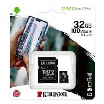 KINGSTON TARJETA MEMORIA MICRO SD CON ADAPTADOR 32GB 100MB/S