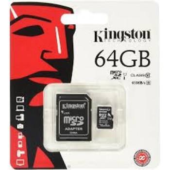 KINGSTON TARJETA MICRO SD CON ADAPTADOR 64GB 80MB/S