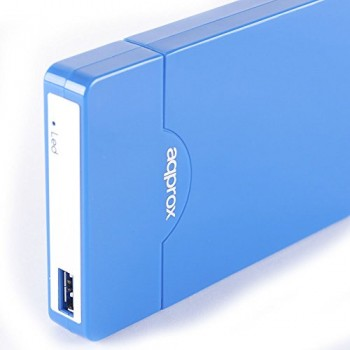"""AQPROX CAJA EXTERNA PARA DISCO DURO 2.5"""" USB 3.0 SATA AZUL"""